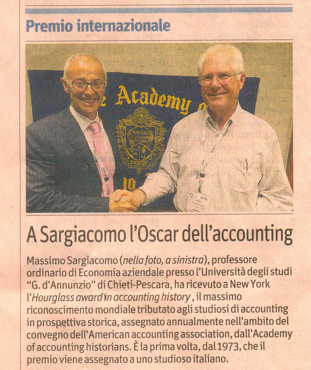 Massimo Sargiacomo - Il Sole 24 ore giugno 2016