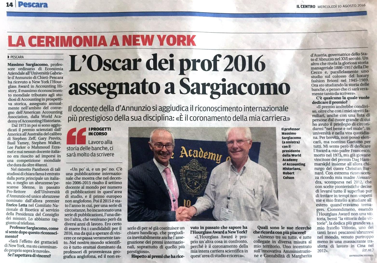 Massimo Sargiacomo - Il Centro 2016